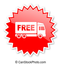free delivery red tag, sticker, label, star, stamp, banner,...