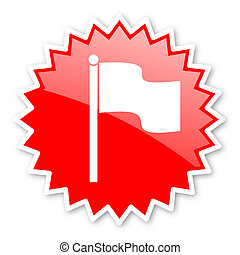 flag red tag, sticker, label, star, stamp, banner,...