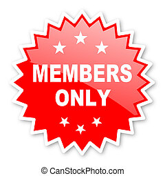 members only red tag, sticker, label, star, stamp, banner,...