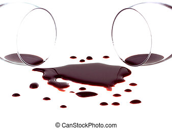 Spilled red wine isolated on white background