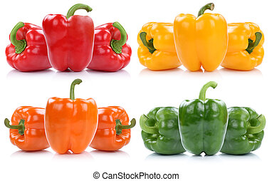 Collection of fresh bell pepper peppers paprika paprikas...