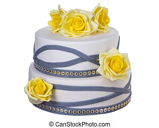 Wedding cake of yellow roses From the white paste
