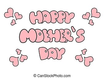 Happy Mothers Day card Vector illustration Pink letters