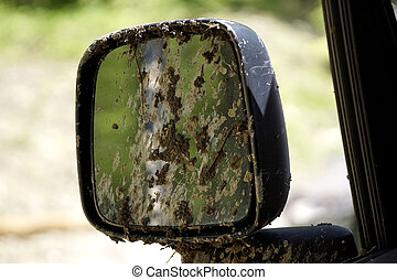 Muddy Off Road Car mirror - Muddy Mirrors due to Off Roading...