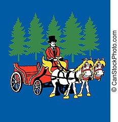 Smiling Horses and Carriage - Horse and carriage, upscale...