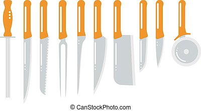 Set of steel kitchen knifes carving, paring, and utility...