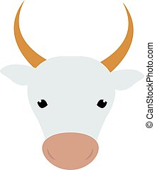 White silhouette of cow head farm animal beef mammal...