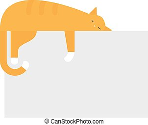 Cute cat sleeping on platform house feline domestic young adorable kitten cartoon vector illustration.