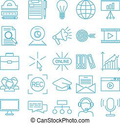 Vector business webinar and online education outline icons....