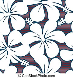 Red white and blue hibiscus lines seamless pattern .