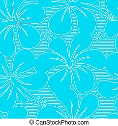 Light blue and white hibiscus lines seamless pattern .