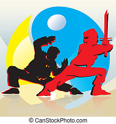 Asian Fighters - Asian fighters on blue and yellow yin-yang...