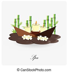 Spa - Isolated group of spa objects like candles and flowers...
