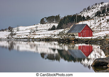 Vagspollen, Lofoten Islands, Norway - Rorbuer reflected...