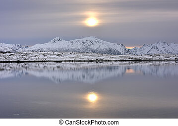 Vagspollen, Lofoten Islands, Norway - Vagspollen reflection...