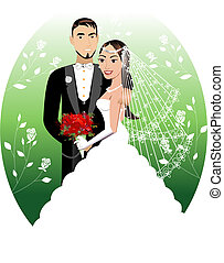 Bride Groom - Vector Illustration. A beautiful bride and...