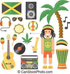 Reggae, kunstenaar, Muzikalisch, instrument, en,...