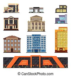 Flat style modern classic municipal buildings front, facade...