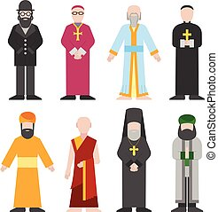 Vector set of different religion people confession man...