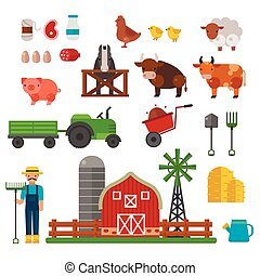 Farm animals, food and drink production symbols, organic...