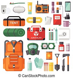 Survival emergency kit for evacuation vector objects set....
