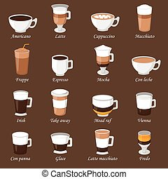 Coffee cups different cafe drinks types espresso mug with...