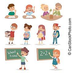 groupe, école, gosses, aller, étude, ensemble,...