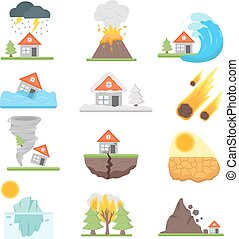 Home insurance business set vector illustration with house...