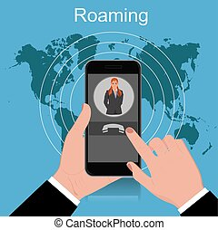 Roaming concept, vector illustration