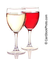 Rose and white wine in a wine glasses