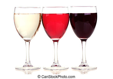 Red, rose and white wine in a wine glasses