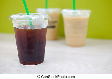 iced americano with ice coffee background