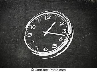 Clock illustration chalk board - Analog clock illustration...