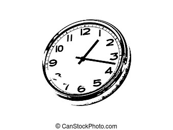 Clock illustration - Analog clock illustration on white...