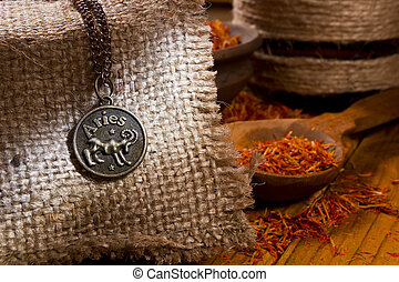Medallion with the sign of Aries and saffron - Medallion...