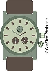 Military style watch with brown leather strap time design wristwatch instrument vector accessory.