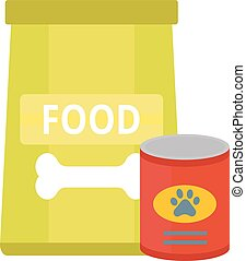 Dry dog treats in bowl and big bag of food animal snack...