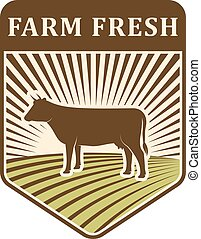 Nature fields retro farm label organic food production design agriculture symbol vector.