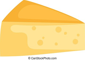 Cheddar cheese slice on white background food healthy product, snack fresh milk gourmet breakfast vector illustration