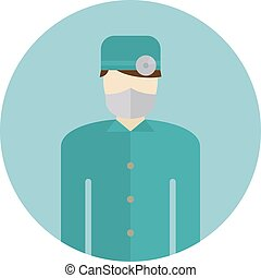 Medical doctor silhouette icon nurse or surgeon wearing...