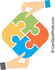 Hands and puzzle isolated solution business jigsaw piece...