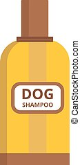 Pet dog shampoo flat icon grooming health bathtub hygiene...