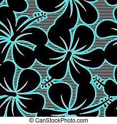 Black blue and white hibiscus lines seamless pattern