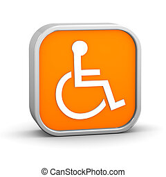 Orange Accessibility Sign - Orange accessibility sign on a...