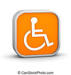 Orange Accessibility Sign - Orange accessibility sign on a...