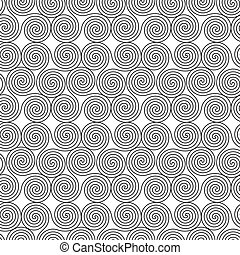 Seamless monochrome pattern with triple spiral shapes