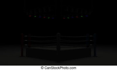 Turn Boxing Ring Front View 3DCG render Animation