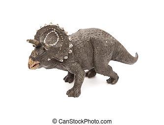 gris, Triceratops, juguete, en, Un, blanco, Plano de fondo,
