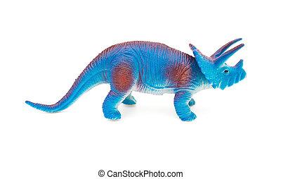 lado, vista, azul, Triceratops, juguete, en, Un, blanco,...