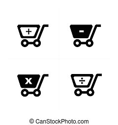 Shopping cart icons with  mathematical symbol